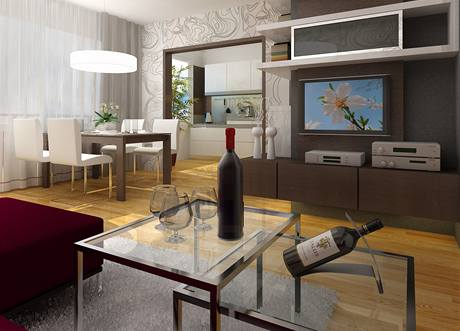 Obývací část - pohled směrem ke kuchyni