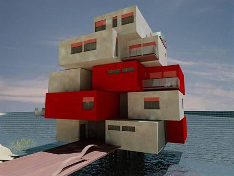 Dům Core & Box tvoří nosné jádro a zavěšené obytné boxy