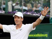 ZVLÁDL JSEM TO! Český tenista Tomáš Berdych ve třetím kole těžce bojoval s Uzbekem Istominem, nakonec bitvu zvládl a postoupil do osmifinále.