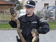 Specialista na odchyt hadů, strážník kladenské městské policie Jiří Pařez.