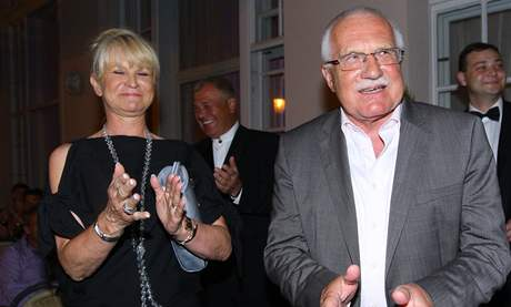 Milada Karasová a prezident Václav Klaus