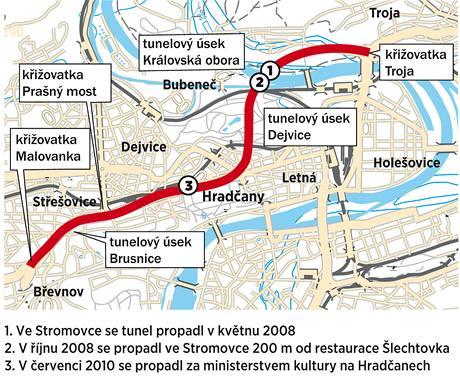 Mapa míst, kde se propadl tunel Blanka.