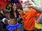 Nizozemští fanoušci slaví v Amsterdamu úspěchy fotbalistů na mistrovství světa v Jižní Africe.