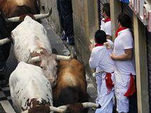 Běh býků v Pamploně si vyžádal první raněné. (7. července 2010)