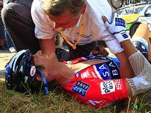 Frank Schleck  po kolizi ve 3. etapě Tour de France
