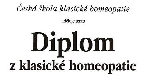 Část diplomu z klasické homeopatie v českém jazyce
