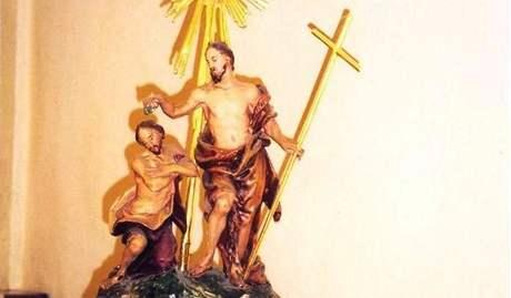 Odcizená socha z kostela v Želešicích - Křest páně