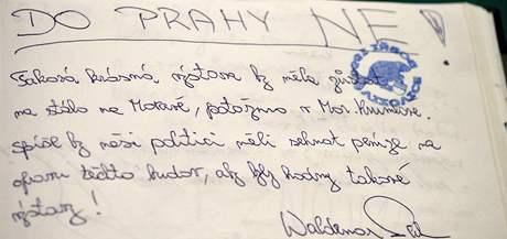 Zápis z návštěvnické knihy Slovanské epopeje v Moravském Krumlově(14. červenec 2010)