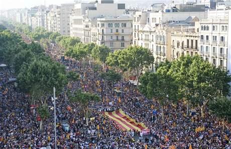 Demonstrace v Barceloně za větší autonomii Katalánska