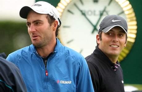 Edoardo Molinari (vlevo) a Francesco Molinari během finálového kola Scottish Open