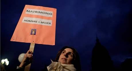 Lidé v argentinských ulicích masově protestovali proti sňatkům homosexuálních párů (13. července 2010)