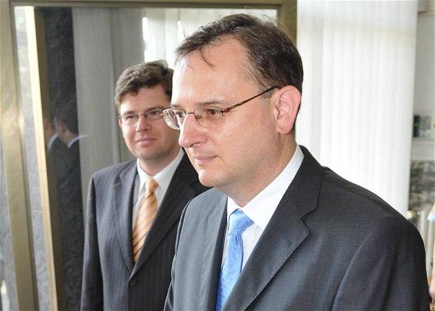 Premiér Petr Ne�as a ministr spravedlnosti Ji�í Pospí�il nav�tívili Brno.