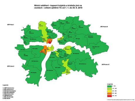 Mapa -  kapesní krádeže v Praze v I. polovině roku 2010