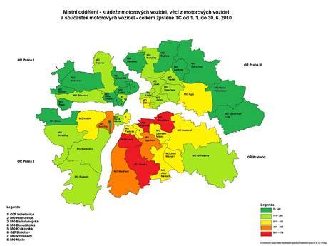 Mapa -  krádeže aut v Praze v I. polovině roku 2010