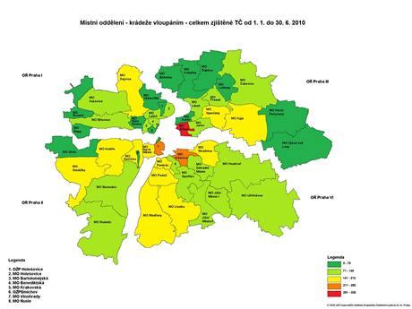 Mapa -  případy vloupání  v Praze v I. polovině roku 2010