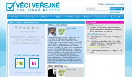 Referendum na internetových stránkách Věcí veřejných.
