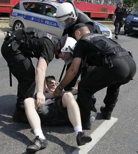 Proti pochodu homosexuálů protestovaly pravicové radikálové, policie několik z nich zatkla (17. července 2010)