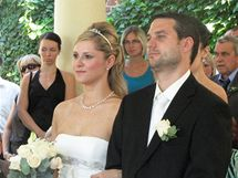 Svatba novomanželů Kateřiny a Michala Kutílkových v altánku v Denisových sadech pod Petrovem (10. červenec 2010)