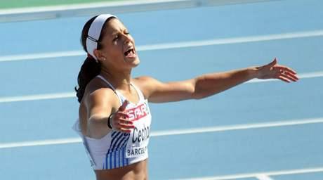Sprinterka Kateřina Čechová po rozběhu na 100 metrů na ME v Barceloně