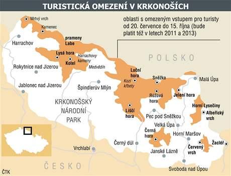 Turistická omezení v Krkonoších.