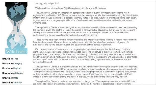 Wikileaks zve�ejnila tajné dokumenty o válce v Afghánistánu (25. �ervence 2010)
