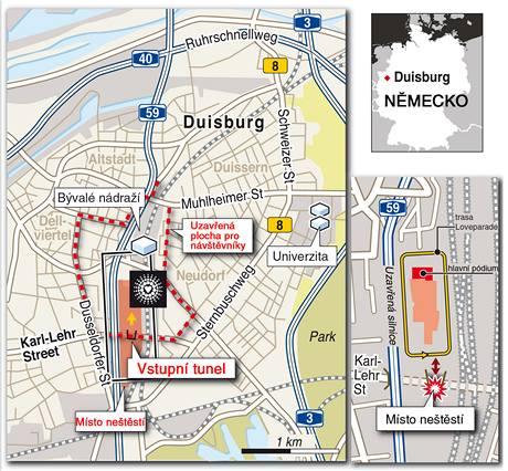 Mapa neštěstí na Loveparade v německém Duisburgu.