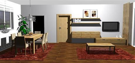 Obývací pokoj s jídelním koutem v novostavbě ve dvou variantách
