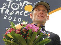 Lance Armstrong v cíli Tour de France 2010.
