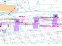 Trasa prodloužené trasy metra A pod výškovými obytnými domy
