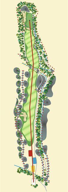 Golfové hřiště Old Course v Čeladné, jamka č. 1, grafika.