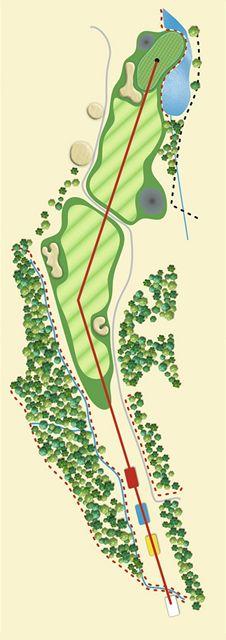 Golfové hřiště Old Course v Čeladné, jamka č. 2, nákres.