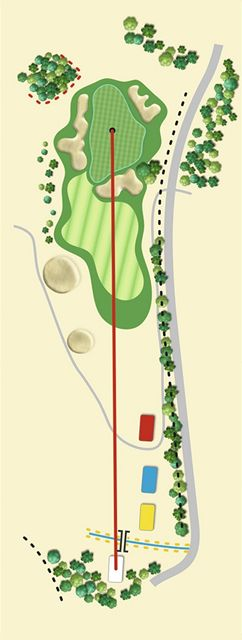 Golfové hřiště Old Course v Čeladné, jamka č. 3, nákres.
