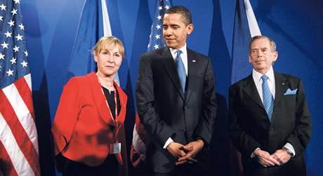 V práci Při loňském setkání Baracka Obamy a Václava Havla.