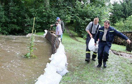 V Dolní Březince u Světlé nad Sázavou se rozlil potok. Hasiči s dobrovolníky stavěli hráz z pytlů s pískem.