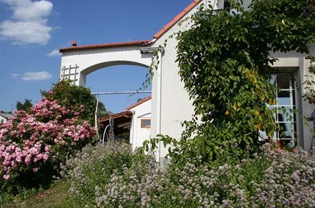 Dům je ze západní strany doslova zahalen záplavou květů