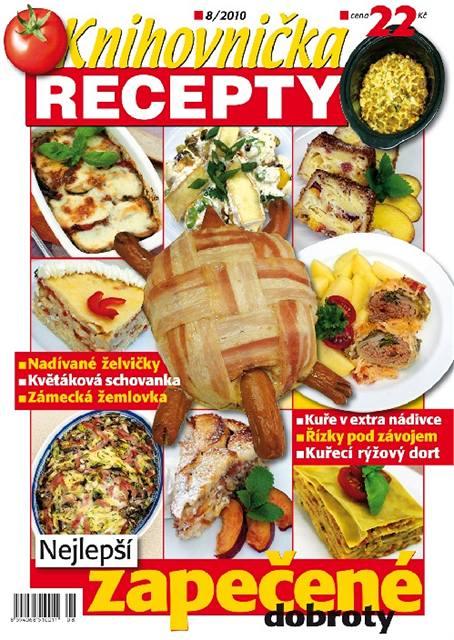 Titulní stránka letošního srpnového vydání časopisu Knihovnička Recepty