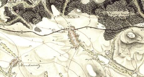 Mapa místa u Kamenného kříže