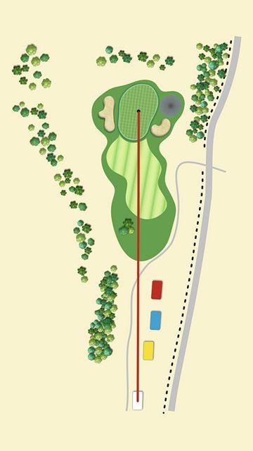 Golfové hřiště Old Course v Čeladné, jamka č. 6 - nákres.