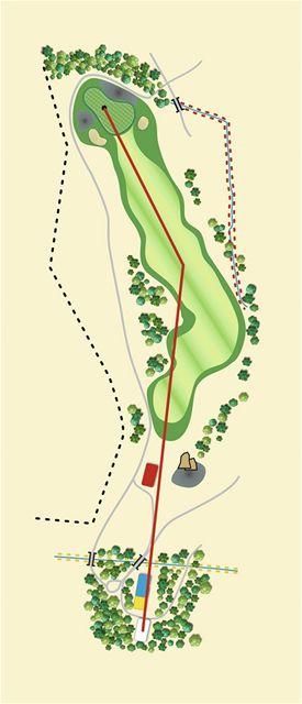 Golfové hřiště Old Course v Čeladné, jamka č. 11 - nákres.