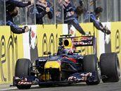 Mark Webber oslavuje triumf ve Velké ceně Maďarska s týmem Red Bull.