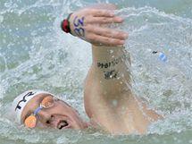 Německý plavec Thomas Lurz v závodu na 10 kilometrů na mistrovství Evropy v Maďarsku.