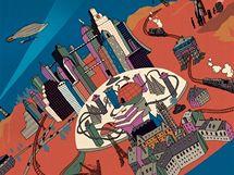 Mapa 9. kapitoly obrazov�ho rom�nu Normana Kleina The Imaginary 20th Century