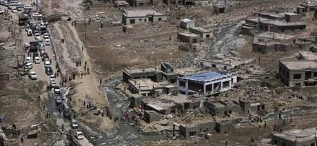 Záplavy v městě Léh v indické části Kašmíru (10. srpna 2010)
