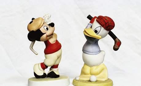 Porcelánové figurky Mickeyho Mouse a Kačera Donalda z roku 1930.