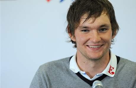 Martin Příhoda na tiskové konferenci po prvním kole Czech Open 2010.