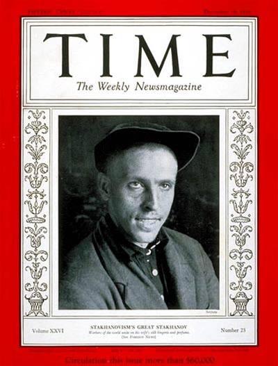 Legendární sovětský horník Alexej Stachanov na obálce časopisu Time