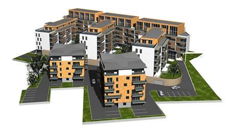Studie nového bytového komplexu u Mlýnské strouhy v Plzni