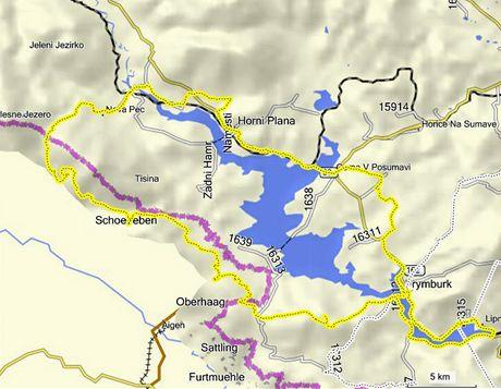 Mapa okružní tratě kolem Lipna
