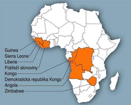 Krvavé diamanty v Africe.