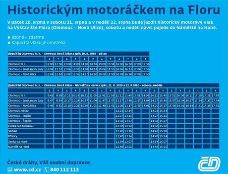 Jízdní řád historického motorového vláčku Hurvínek v průběhu letošní letní výstavy Flora Olomouc